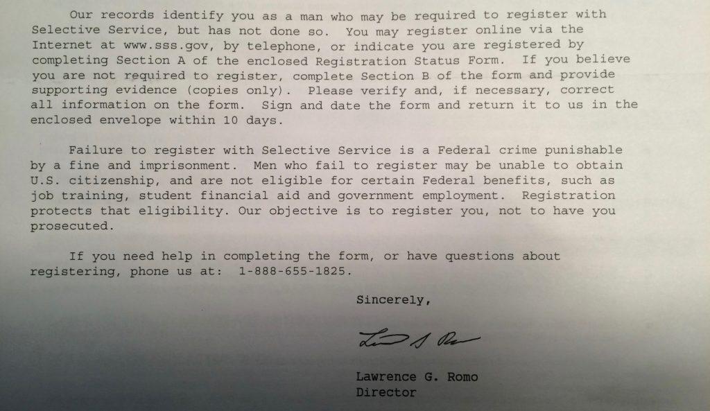 アメリカSelective Serviceからの手紙
